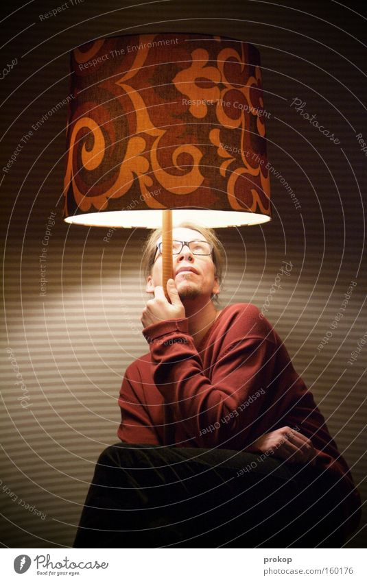 Human being Man Joy Calm Lamp Relaxation Style Planning Sit Retro Umbrella To hold on Idea Awareness Inspiration Weather protection