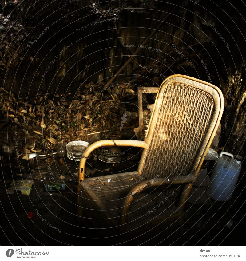 Loneliness Dark Chair Derelict Ruin Plate Pathetic Canister Rocking chair Uninhabitable