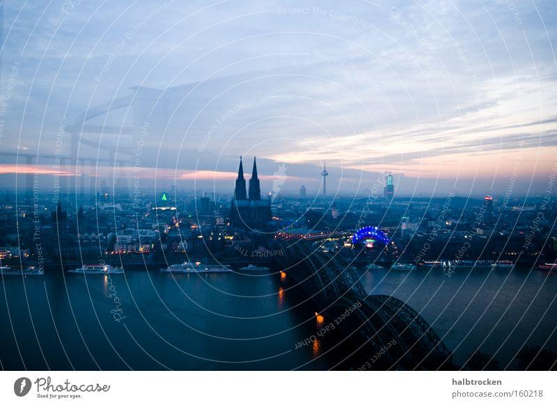 Sky Blue City Clouds Landscape Large Bridge River Vantage point Cologne Monument Landmark Dome Rhine