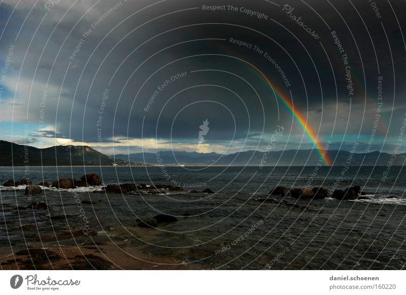 Water Sky Sun Ocean Beach Vacation & Travel Rain Coast Island Travel photography Light Thunder and lightning Rainbow Mediterranean sea France Corsica