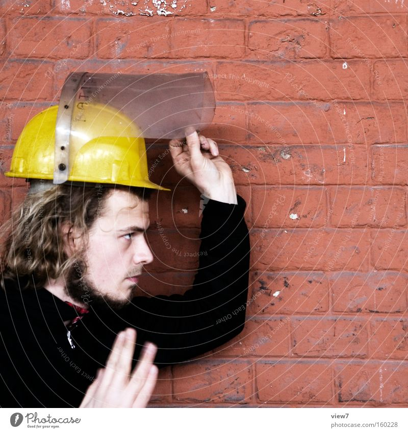 Man Hand Work and employment Wall (barrier) Industry Industrial Photography Factory Protection Sign Concentrate Profession Facial expression Employees & Colleagues Helmet Fellow Working man