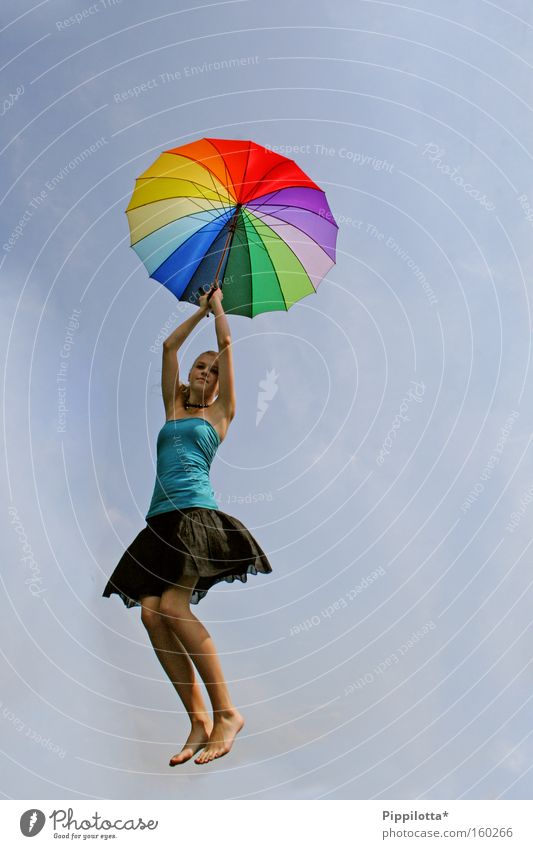 happiness. Joy Air Sky Umbrella Flying Emotions Exuberance Hover Impossible Multicoloured