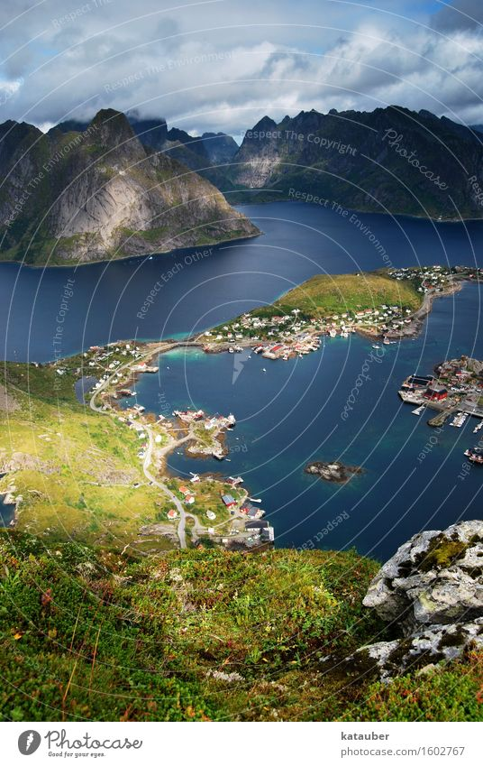 High Top Nature Landscape Mountain Fjord Looking Hiking Adventure Lofotes Norway Summer Vacation & Travel Vantage point Rock Peak Island Reine Fishing village
