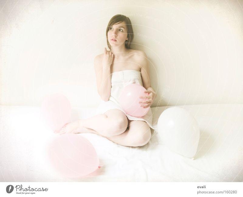 Woman White Pink Balloon