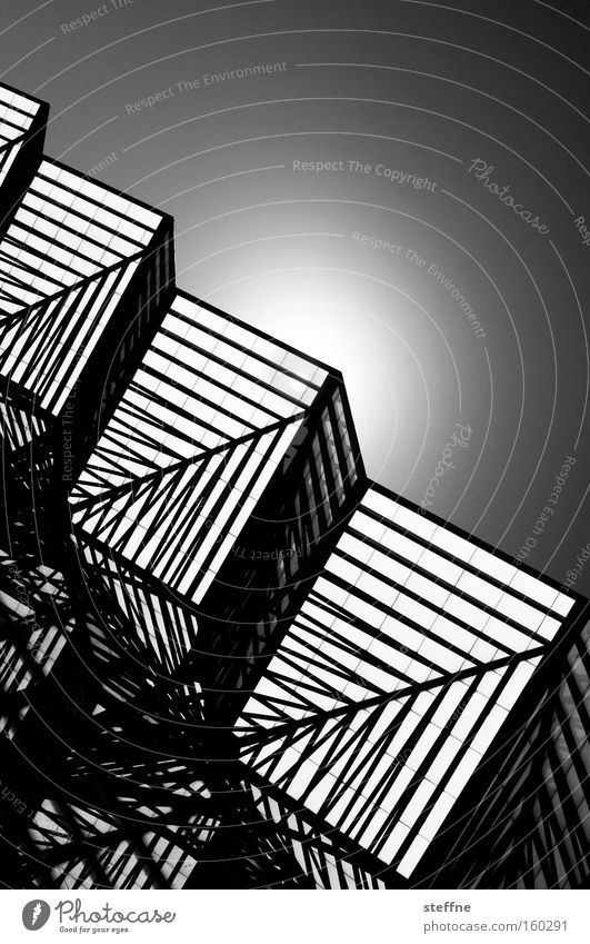 geometrix Sun Back-light Line Structures and shapes Pattern Geometry Black White Chic Cube Cubism Corner Three-dimensional Detail spatial