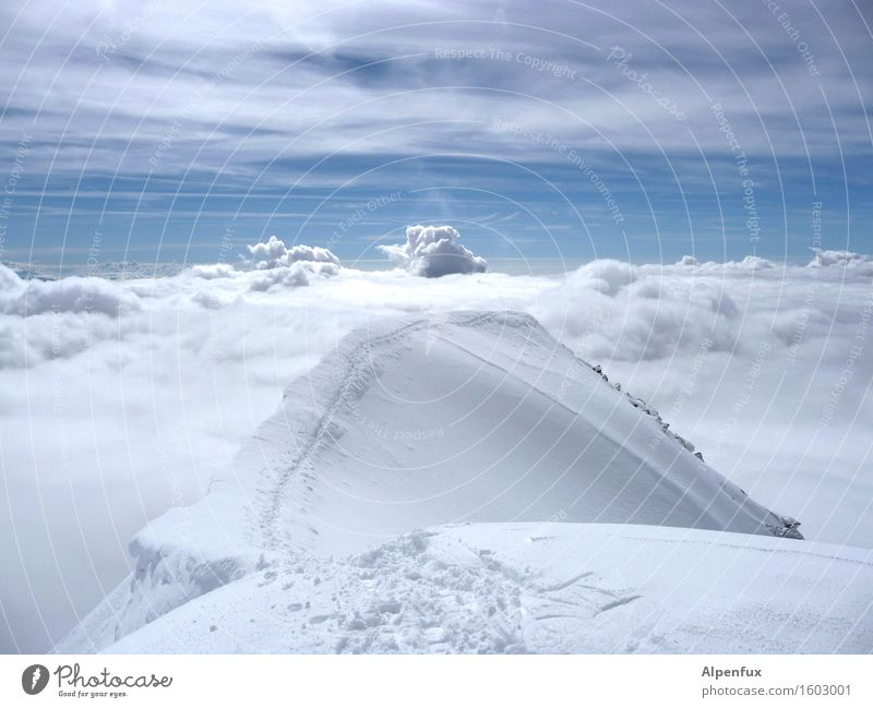 ladder to heaven Sky Clouds Beautiful weather Snow Alps Mountain Canton Wallis Snowcapped peak Glacier Hiking Optimism Success Power Willpower Brave