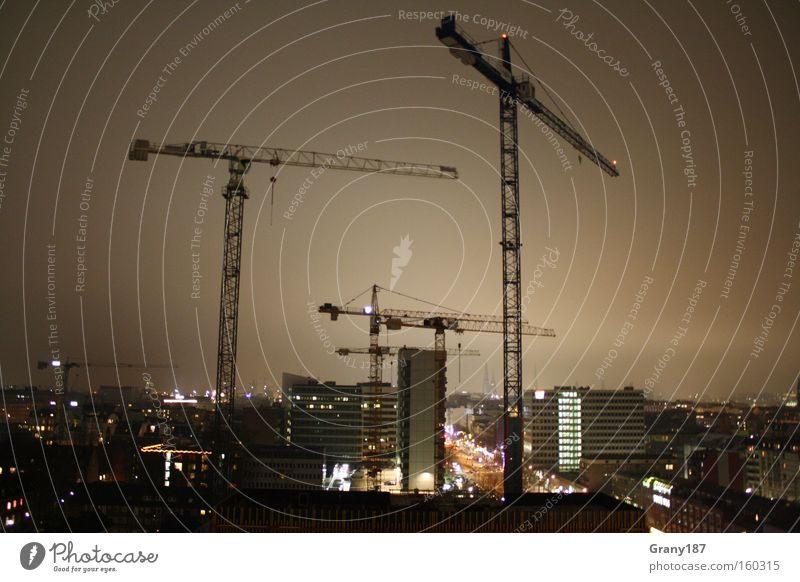 Hanse Hamburg Cranes View Colour photo Exterior shot Light Long exposure Panorama (View) House (Residential Structure) Construction site Town Skyline High-rise