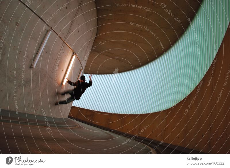 Human being Man City Window Wall (building) Architecture Jump Design Dangerous Threat Illustration Upward Curve Dynamics Parking garage