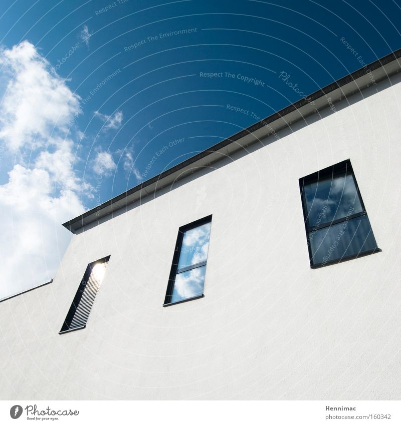 The White House. House (Residential Structure) Architecture Window Diagonal Dynamics Blue Facade Vanishing point Line Abstract Design Modern Sky Clouds Contrast