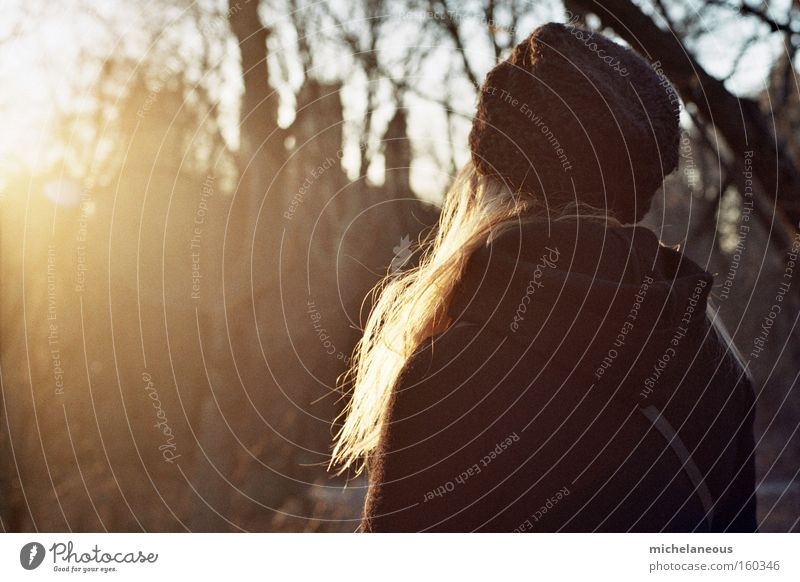 say goodbye to hello Sun Hair and hairstyles Beautiful Goodbye Evening Sunset Black Cap Analog Blonde Contentment Rear view