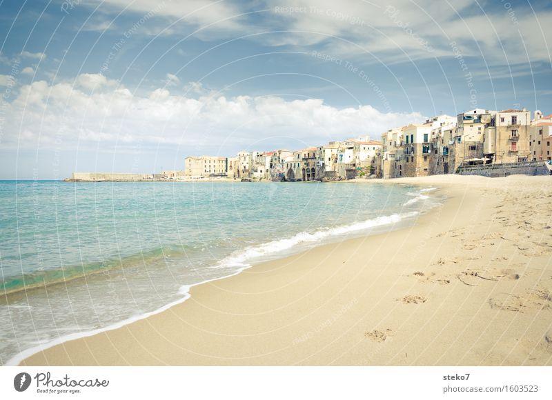 Sicilian coast Summer Coast Beach Ocean Mediterranean sea Port City Swimming & Bathing Free Warmth Loneliness Vacation & Travel Cefalú Sicily Going Tracks