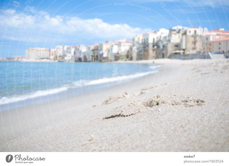 Vacation & Travel Blue Beach Warmth Coast Building Waves Tracks Sicily Port City Cefalú