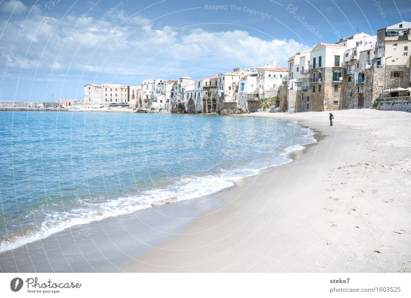 sea view Coast Beach Ocean Small Town Port City Outskirts Warmth Blue Relaxation Vacation & Travel Cefalú Sicily Italy Copy Space left Copy Space bottom