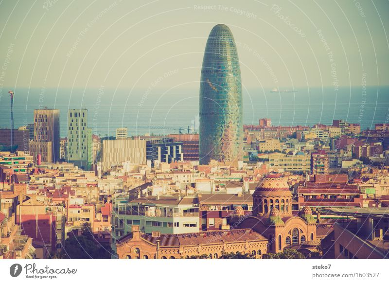 Torre Agbar Barcelona Catalonia Spain Downtown Skyline High-rise Manmade structures Architecture Landmark torre agbar Exceptional Famousness Glittering Tall