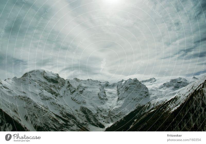 Winter Clouds Forest Snow Mountain Alps Mountain range Stilfserjoch