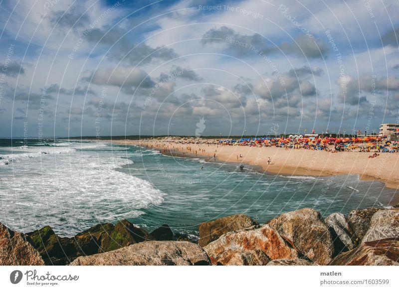 beach life Swimming & Bathing Vacation & Travel Tourism Summer vacation Sunbathing Beach Ocean Waves Crowd of people Sky Clouds Horizon Beautiful weather Rock