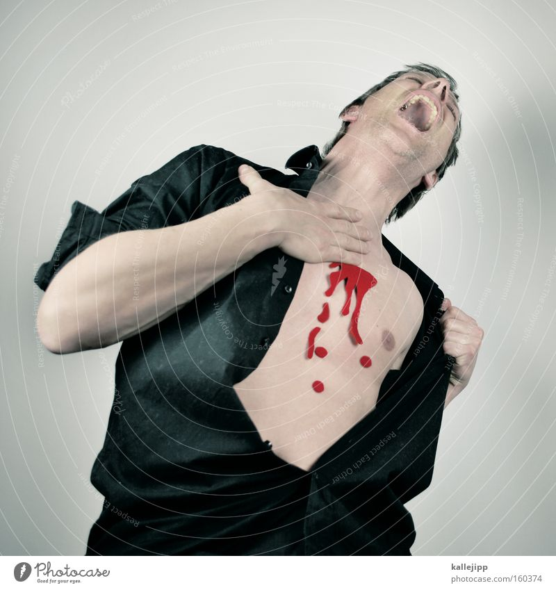 Human being Man Death Heart Fear Skin Shirt Blood Panic Strike Murder Sacrifice Vulnerable Wound Brutal