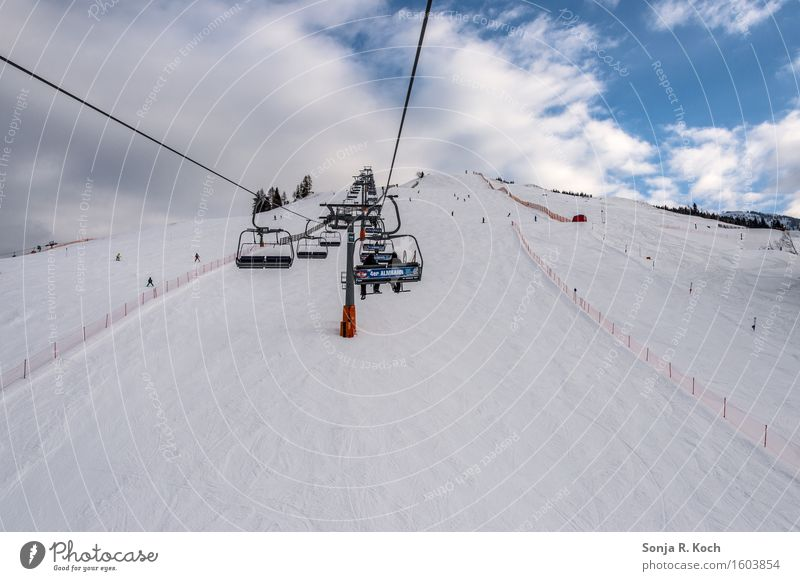 elevator Leisure and hobbies Vacation & Travel Tourism Trip Winter Snow Winter vacation Skiing Snowboard Sky Clouds Beautiful weather Hill Mountain Ski lift