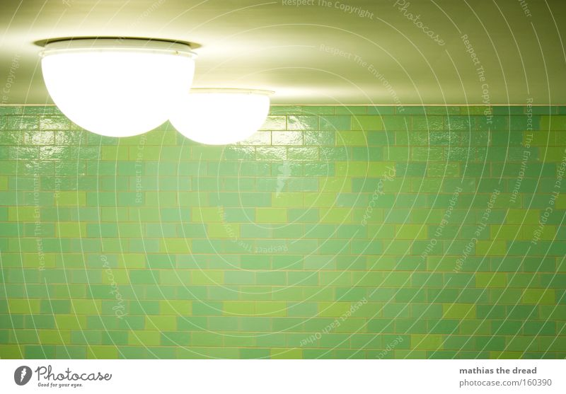 ROUND DINGER Lamp Lighting Semicircle Bright Flashy White Skylight Wall (building) Tile Green Pattern Structures and shapes Interior design Train station Tunnel