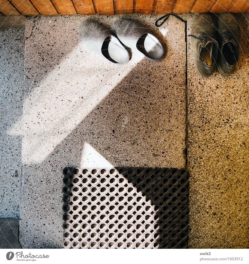 Calm Wood Stone Couple In pairs Footwear Wait Plastic Serene Under Entrance Patient Closing time Rubber Terracotta Shaft of light
