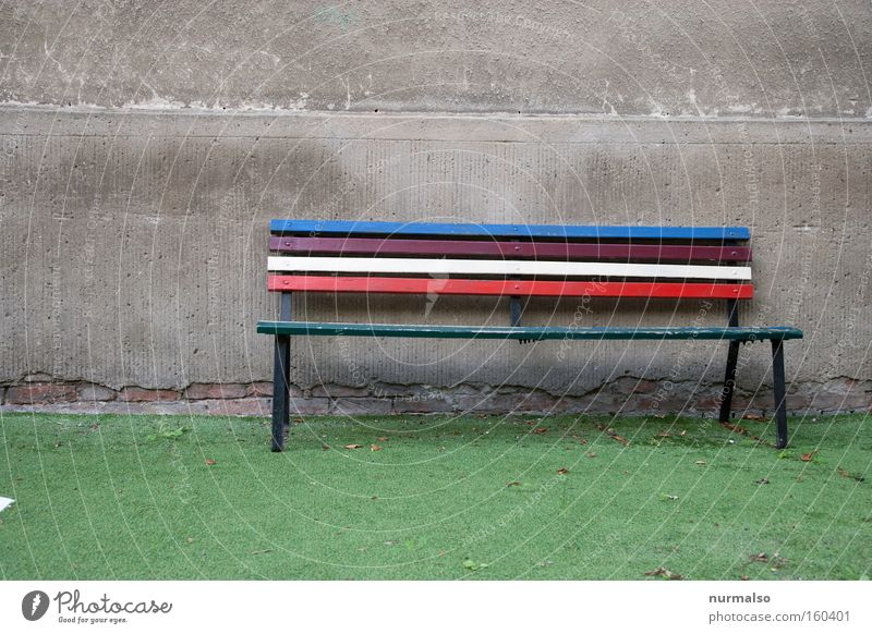 be so free and take a seat Bench Garden bench Artificial lawn Multicoloured Rainbow Together Store premises Share Wall (barrier) Wall (building) Gloomy
