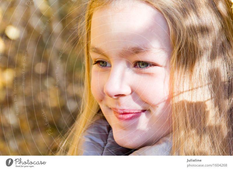 Beautiful smiling girl in autumn Summer Child Girl Infancy 8 - 13 years Autumn Blonde Cute White kid five six 7 eight preschooler fall Caucasian European