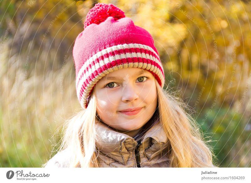 Autumn photo of beautiful girl Summer Child Girl Infancy 1 Human being 3 - 8 years Blonde Cute White kid five six 7 eight preschooler fall Caucasian European