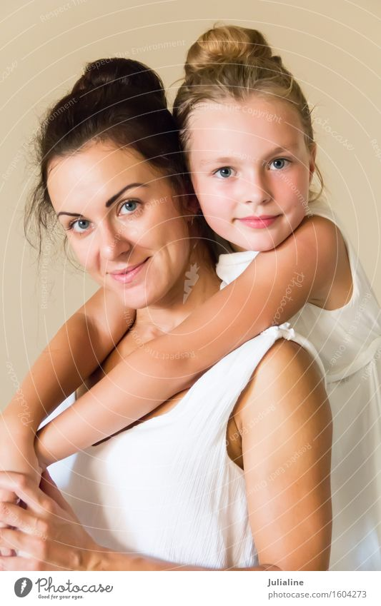 Mother and daughter in white Human being Woman Child Youth (Young adults) White Girl 18 - 30 years Adults Family & Relations Blonde Infancy 8 - 13 years