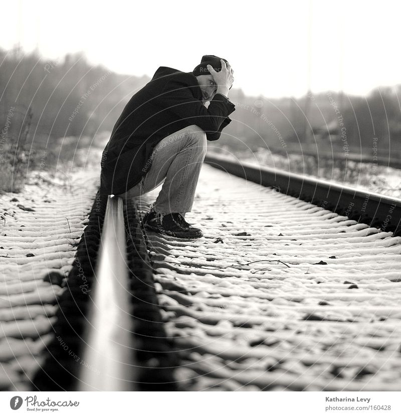 Human being Man Winter Loneliness Snow Sadness Fear Wait Adults Masculine Transport Sit Grief Authentic Thin Uniqueness