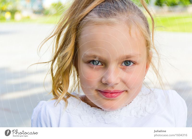 Cute girl with blond long hair Child Schoolchild Girl Infancy 1 Human being 8 - 13 years Blonde Blue White kid preschooler six 7 Caucasian European five eight