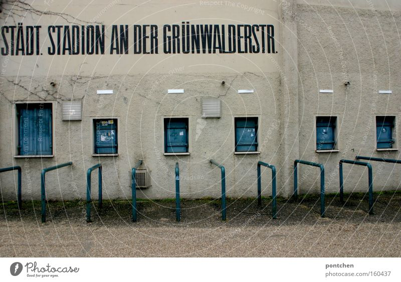 Grünwalder stadium Playing Stadium Old Blue White Loneliness Decline 1860 Derelict Iconic Football stadium National league Repelled Empty Colour photo
