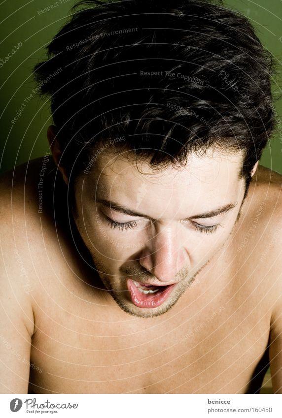 Man Green Sleep Bed University & College student Fatigue Household Exhaustion Bedroom Oversleep Yawn Morning grouchiness