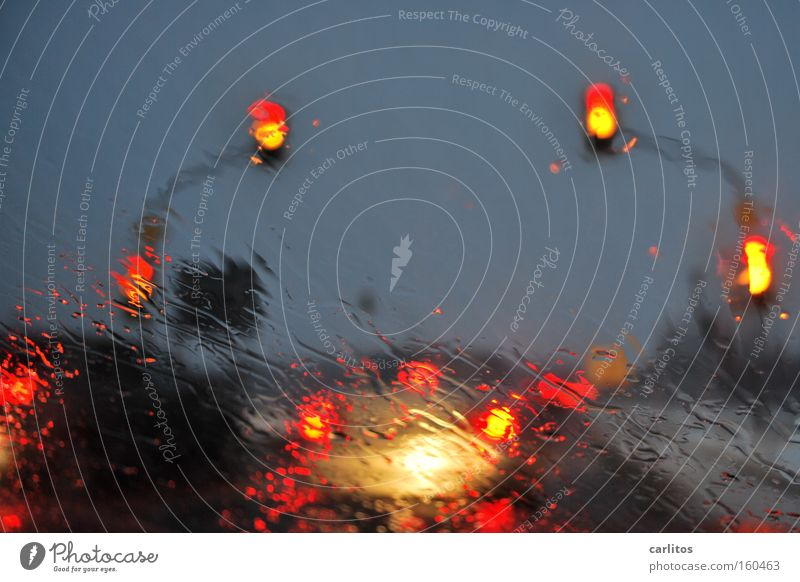 Red Car Rain Wait Weather Transport Motor vehicle Climate Seasons Traffic light Traffic jam Bad weather Exasperated Rush hour Meteorological service