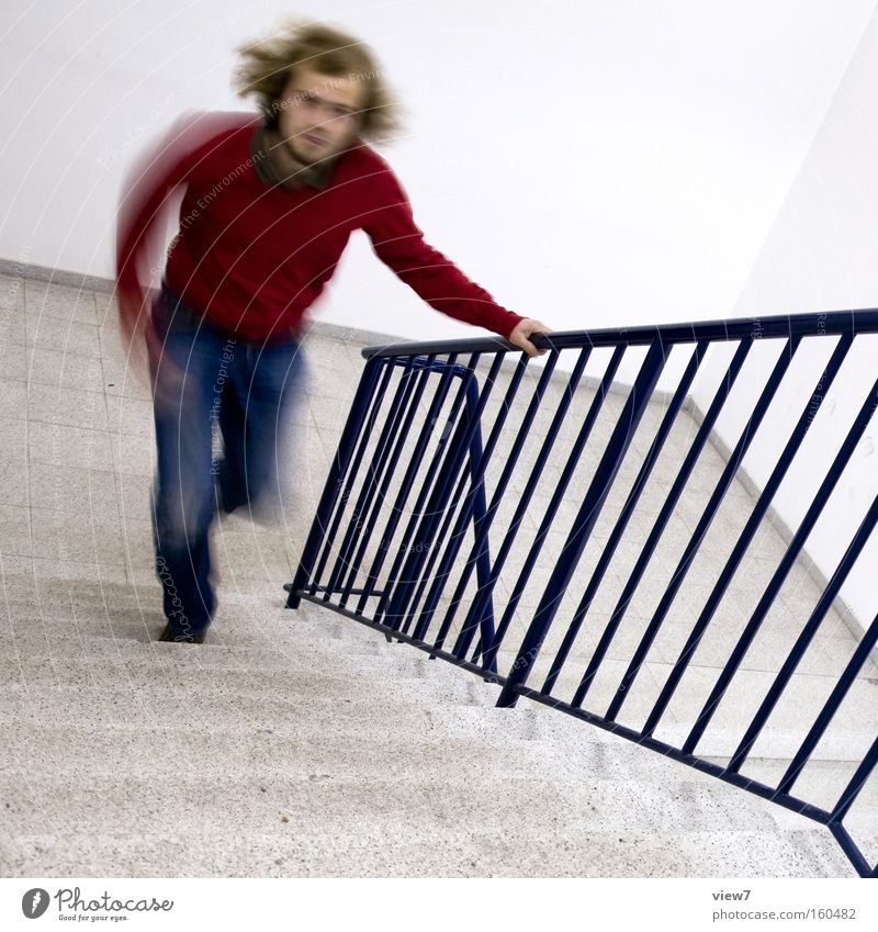 Hurry up! Speed Walking Running sports Stairs Staircase (Hallway) Time Late Delay Haste Racing sports Date Concentrate Man Sporting event Competition