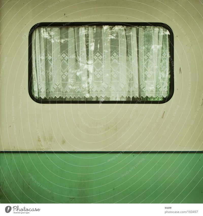 off-season Camping Living or residing Flat (apartment) Window Caravan Dirty Simple Retro Green White Loneliness Past Transience Curtain Drape Thrifty Old Stripe