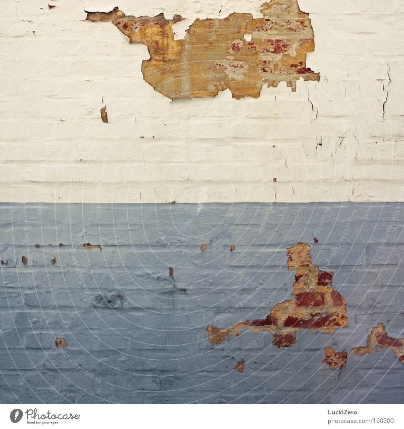 Old White Blue Dye Wall (barrier) Bright USA Italy Transience Derelict Brick Shabby Crack & Rip & Tear Dismantling Flake off
