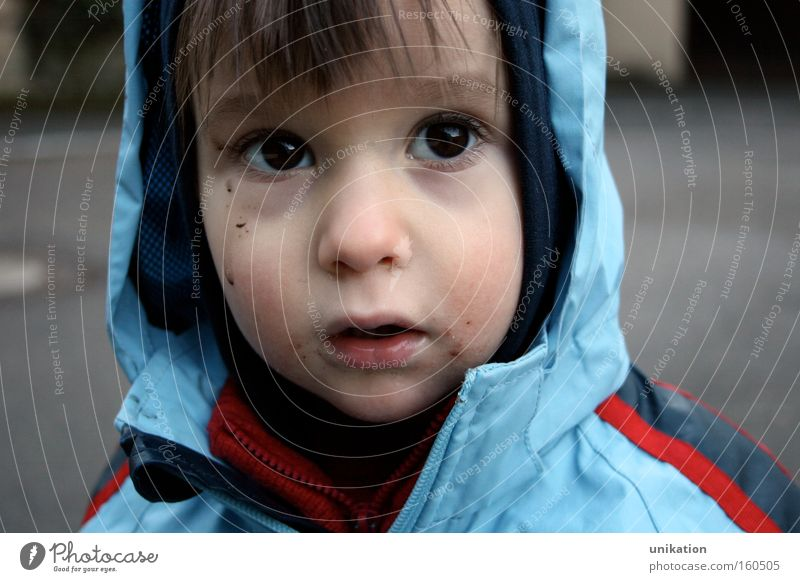 mucky pup Face Playing Children's game Toddler Boy (child) Infancy Eyes 1 Human being 1 - 3 years Autumn Weather Bad weather Rain Jacket Cap Sadness Dirty Wet
