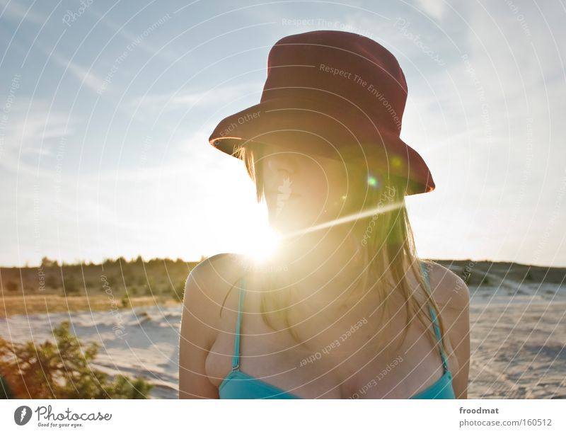 sugar loaf Back-light Sun Summer Fashion Hat Woman Beautiful Bikini Blonde Sand Warmth Hot Beach Portrait photograph