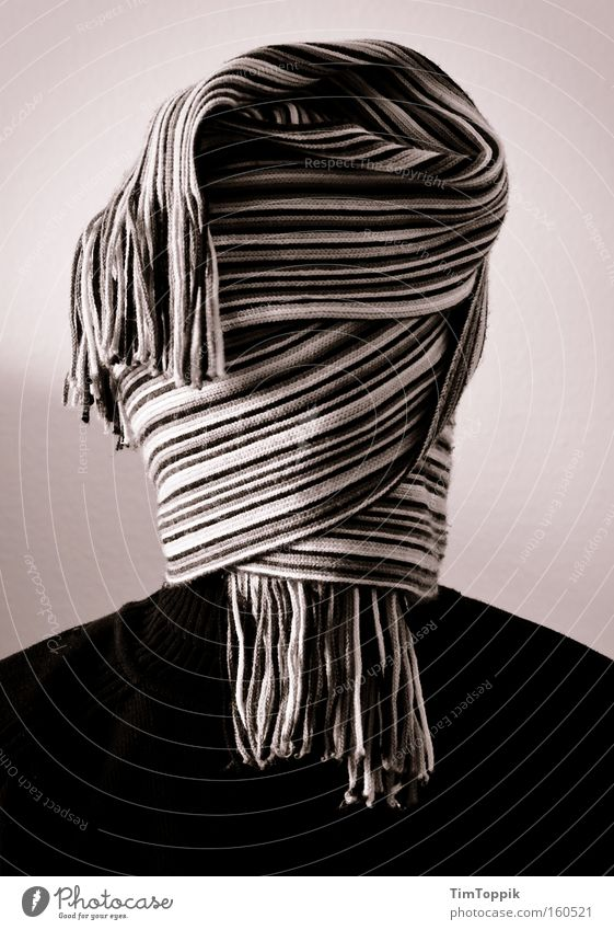 Man Hair and hairstyles Black & white photo Mysterious Portrait photograph Anonymous Scarf Blind Hidden Wrap up warm Masked Unidentified Envelop Laminate