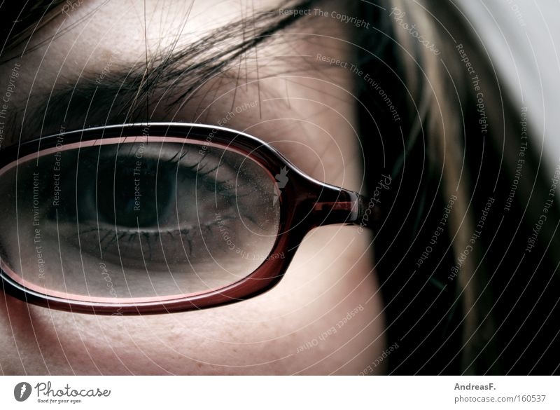 monocular Erudite Woman Eyeglasses Optician Spectacle frame Looking Detail One-eyed Person wearing glasses Intellect Eyes Vista Education visually impaired