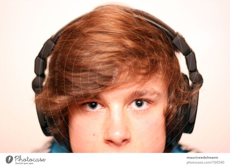 bass addict Human being Youth (Young adults) Music Hair and hairstyles Portrait photograph Bright Concentrate Eyes Headphones Black White Blue Brown
