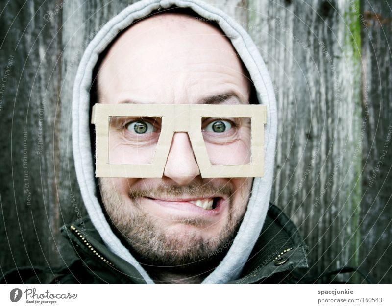 New glasses Eyeglasses Portrait photograph Man Petit bourgeois Face Looking Freak Whimsical Humor Funny Optician Joy