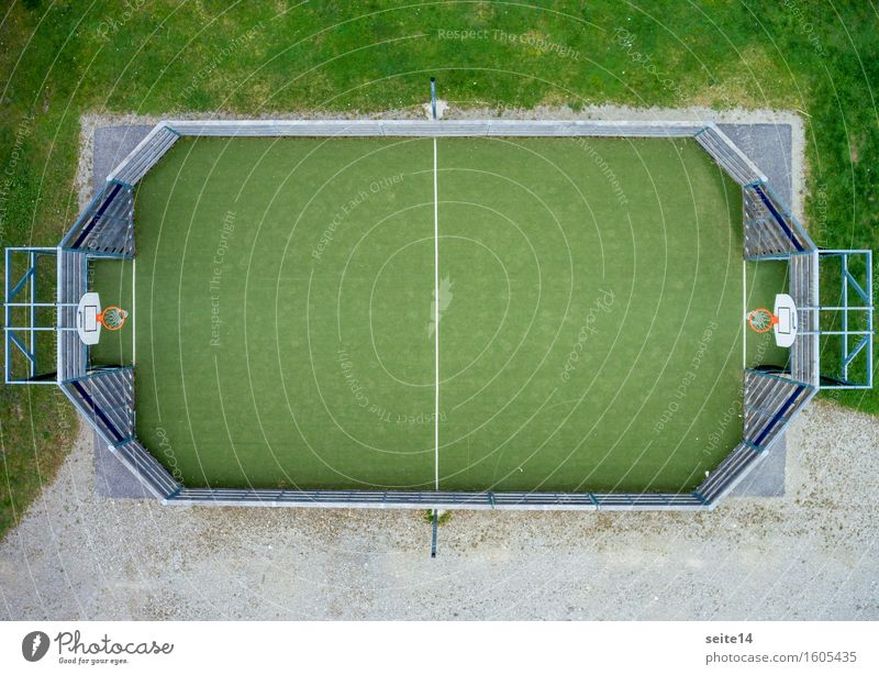 Basketball from a bird's eye view. Playing field. Sports. Bird's-eye view Copy Space Green Orange Basketball arena Line Grass Leisure and hobbies Fenced in
