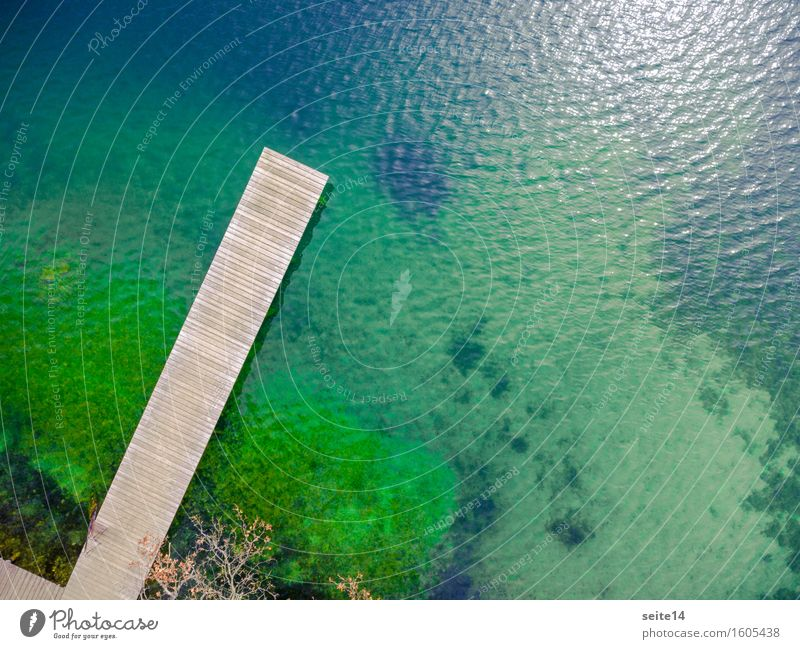 Lake / Lake. Bathing jetty, jetty. Aerial, drone. Wellness Harmonious Relaxation Calm Swimming & Bathing Leisure and hobbies Fishing (Angle) Vacation & Travel