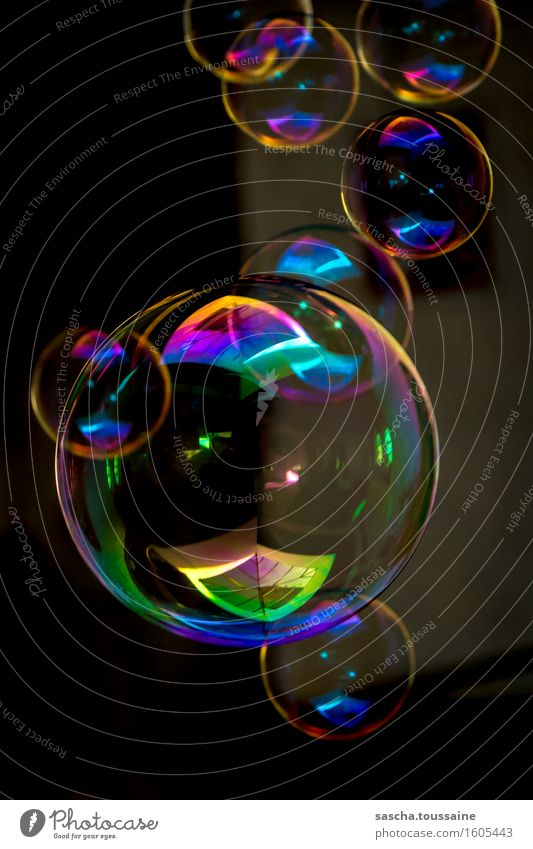 bubbles Playing Party Feasts & Celebrations Carnival To fall Flying Glittering Illuminate Thin Broken Kitsch Slimy Blue Multicoloured Yellow Green Violet Orange