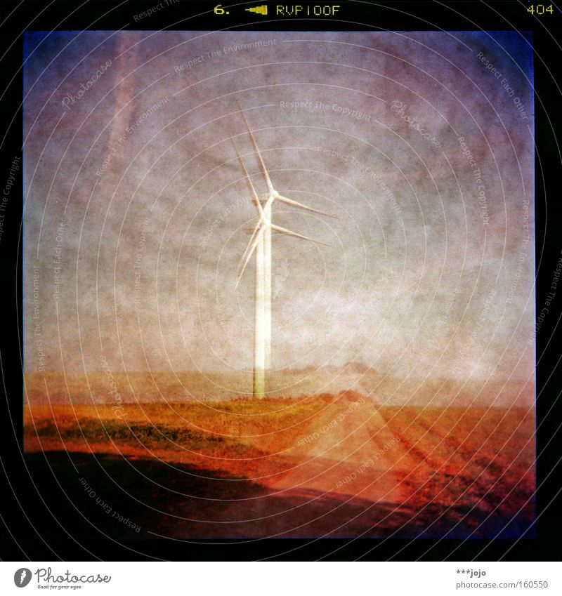 Colour Lamp Lanes & trails Landscape Lighting Field Energy Electricity Holga Lomography Renewable energy Wind energy plant Analog Double exposure Alternative