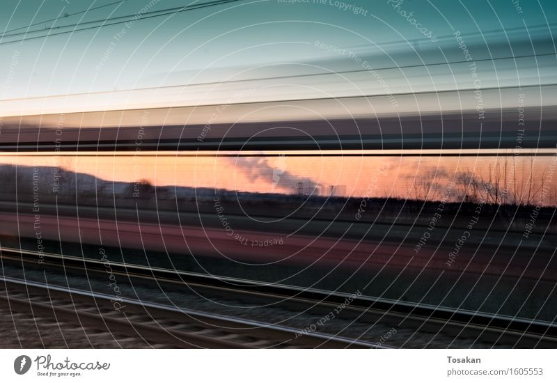 Beautiful Speed Railroad Driving Train travel Rail transport Passenger train