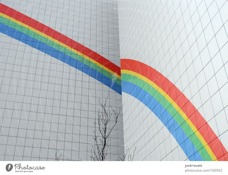 Somewhere under the rainbow Colour White House (Residential Structure) Black Cold Wall (building) Wall (barrier) Exceptional Line Facade Decoration Stripe Hope