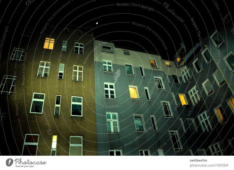 House (Residential Structure) Berlin Window Flat (apartment) Facade Night Farm Moon High-rise Illuminate Backyard Awareness Town house (City: Block of flats) Relief Apartment house Tower block