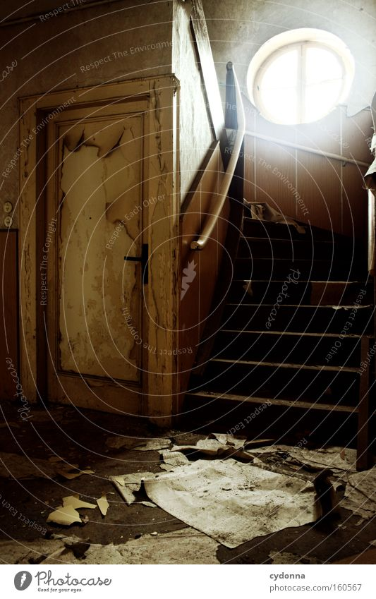Old Life Window Room Door Time Paper Stairs Living or residing Transience Derelict Decline Destruction Memory Location Vacancy